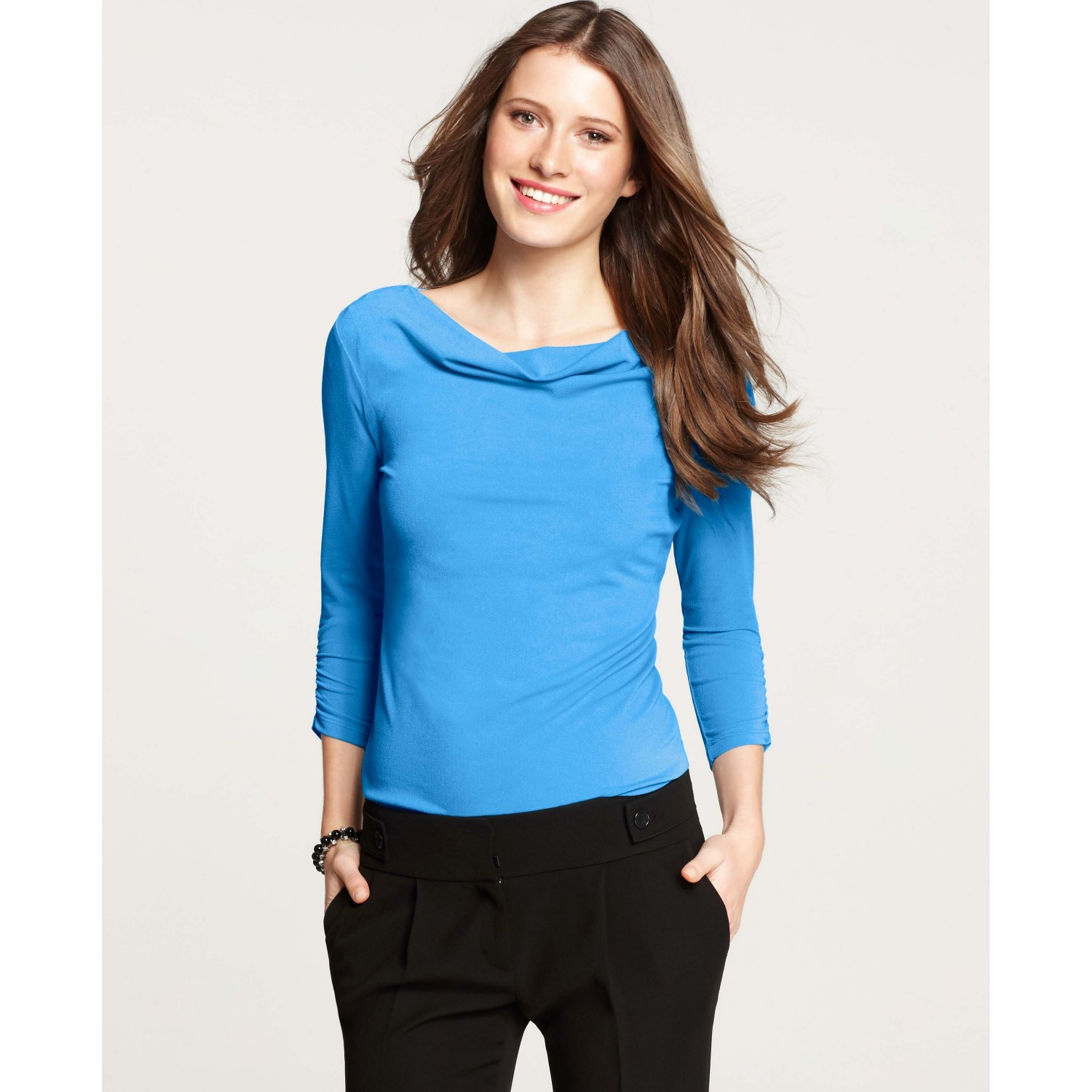 willard blouse rose ice for high neck top light drapes drape office products determined blue work collar